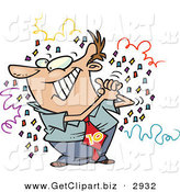 Clip Art of a Grinning Man Celebrating, Surrounded by Confetti and Clasping His Hands by Toonaday