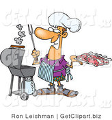 Clip Art of a Grinning Man Preparing to Cook Ribs on a Gas Grill by Toonaday