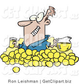 Clip Art of a Grinning Man with Lemons, Pitcher of Lemonade and a Glass of Juice by Toonaday