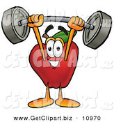 Clip Art of a Grinning Red Apple Character Mascot Holding a Heavy Barbell Above His Head by Toons4Biz