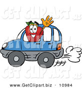 Clip Art of a Grinning Red Apple Character Mascot Waving While Driving by in a Blue Car by Toons4Biz