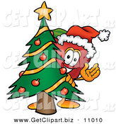 Clip Art of a Grinning Red Apple Character Mascot with a Decorated Christmas Tree by Toons4Biz