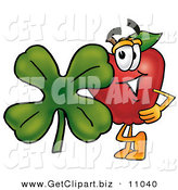 Clip Art of a Grinning Red Apple Character Mascot with a Green Four Leaf Clover on St Paddy's or St Patricks Day by Toons4Biz