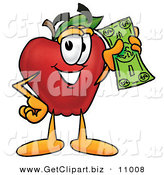 Clip Art of a Grinning Rich Red Apple Character Mascot Holding a Green Dollar Bill, Paying or Saving by Toons4Biz