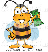Clip Art of a Happy and Outgoing Bee Mascot Cartoon Character Holding a Dollar Bill by Toons4Biz