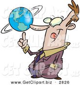 Clip Art of a Happy and Successful Business Man Spinning the World Globe on His Finger by Toonaday