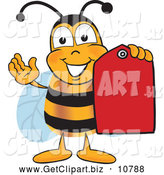 September 1st, 2013: Clip Art of a Happy Bee Mascot Cartoon Character Holding a Red Clearance Sales Tag by Toons4Biz
