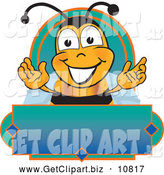 August 17th, 2013: Clip Art of a Happy Bee Mascot Cartoon Character on a Blank Blue and Green Label by Toons4Biz