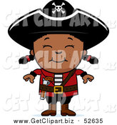 Clip Art of a Happy Black Pirate Girl Smiling by Cory Thoman