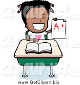 Clip Art of a Happy Black School Girl Holding an a Plus Report Card at Her Desk by Cory Thoman