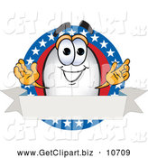 October 14th, 2013: Clip Art of a Happy Blimp Mascot Cartoon Character Logo with Stars and a Blank Ribbon by Toons4Biz