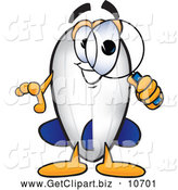 Clip Art of a Happy Blimp Mascot Cartoon Character Looking Through a Magnifying Glass by Toons4Biz
