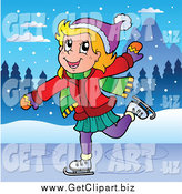 Clip Art of a Happy Blond White Girl Ice Skating by Visekart