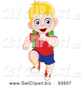 Clip Art of a Happy Blond White School Boy Running Forward by Yayayoyo