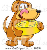 Clip Art of a Happy Brown Dog Mascot Cartoon Character Holding a Food Dish, Waiting to Be Fed by Toons4Biz