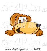 Clip Art of a Happy Brown Dog Mascot Cartoon Character Peeking over a Surface by Toons4Biz