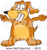 Clip Art of a Happy Brown Dog Mascot Cartoon Character with Open Arms by Toons4Biz
