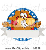 Clip Art of a Happy Brown Dog Mascot Cartoon Character with Open Arms with a Blank Label by Toons4Biz