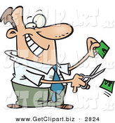 Clip Art of a Happy Business Man Cutting Money in Half on White by Toonaday