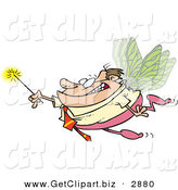 Clip Art of a Happy Business Man Office Fairy with Wings and a Magic Wand by Toonaday