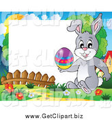 January 26th, 2014: Clip Art of a Happy Easter Rabbit Holding an Easter Egg on a Frame by Visekart