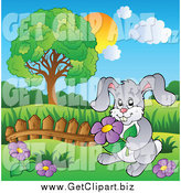 December 28th, 2014: Clip Art of a Happy Gray Rabbit Picking Purple Flowers by Visekart