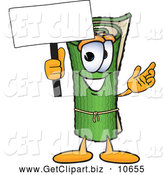 Clip Art of a Happy Green Carpet Mascot Cartoon Character Holding a Blank Sign by Toons4Biz