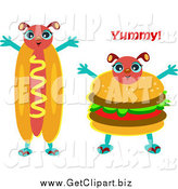 February 9th, 2014: Clip Art of a Happy Hot Dog and Hamburger by Bpearth