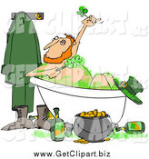Clip Art of a Happy Leprechaun Bathing with Green Suds and Alcohol by Djart