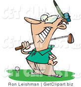 Clip Art of a Happy Male Golfer near a Ball on a Tee, Holding His Golf Club by Toonaday