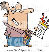 Clip Art of a Happy Man Burning His Mortgage Papers by Toonaday