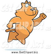 Clip Art of a Happy Orange Cat Running and Jumping by Cory Thoman