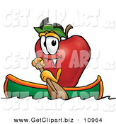 Clip Art of a Happy Outdoorsy Red Apple Character Mascot Rowing a Boat by Toons4Biz