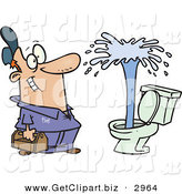Clip Art of a Happy Plumber Man Viewing a Geyser in a Toilet by Toonaday