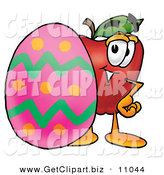Clip Art of a Happy Red Apple Character Mascot Standing Beside an Easter Egg by Toons4Biz