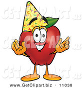 Clip Art of a Happy Red Apple Character Mascot Wearing a Birthday Party Hat on White by Toons4Biz