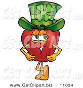 Clip Art of a Happy Red Apple Character Mascot Wearing a Green Paddy's Day Hat with a Four Leaf Clover on It by Toons4Biz
