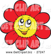 Clip Art of a Happy Red Daisy Flower Character by Visekart