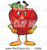 Clip Art of a Happy Red Delicious Apple Character Mascot Wearing a Red Mask on Halloween by Toons4Biz