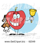 Clip Art of a Happy Red School Apple Ringing a Bell by Hit Toon