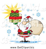 Clip Art of a Happy Santa Holding a Sack over His Shoulder and Presents up in His Hand by Hit Toon