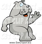 Clip Art of a Happy Sitting Bulldog Waving by Cory Thoman