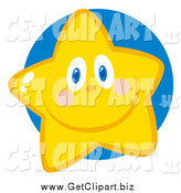 Clip Art of a Happy Star Face by Hit Toon