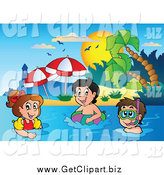 Clip Art of a Happy White Kids Swimming near a Tropical Beach by Visekart