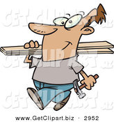 Clip Art of a Happy White Man Carrying a Hammer and Fence Boards by Toonaday