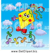 March 4th, 2015: Clip Art of a Happy Yellow Kite in a Blue Sky with Clouds by Visekart