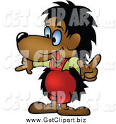 Clip Art of a Hedgehog Pointing by Dero