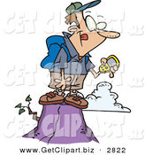 Clip Art of a Hiker Man on Top of a Mountain, Using a GPS over White by Toonaday