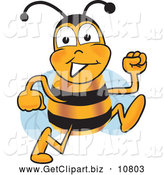 Clip Art of a Honey Bee Mascot Cartoon Character Running by Toons4Biz