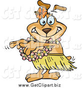 Clip Art of a Hula Dancer Dog by Dennis Holmes Designs